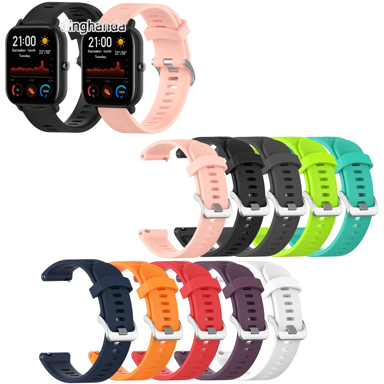 Huami Amazfit Gts 2e Gts2 Mini 矽膠錶帶經典金屬扣錶帶