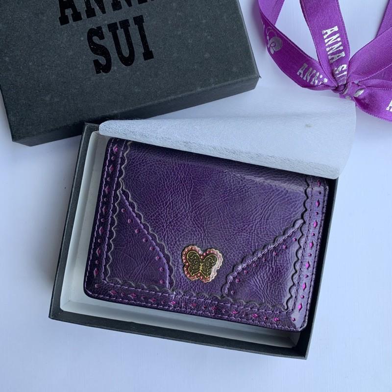 【ANNA SUI安娜蘇】全新正品 古典紫色蝴蝶卡夾、名片夾、證件夾