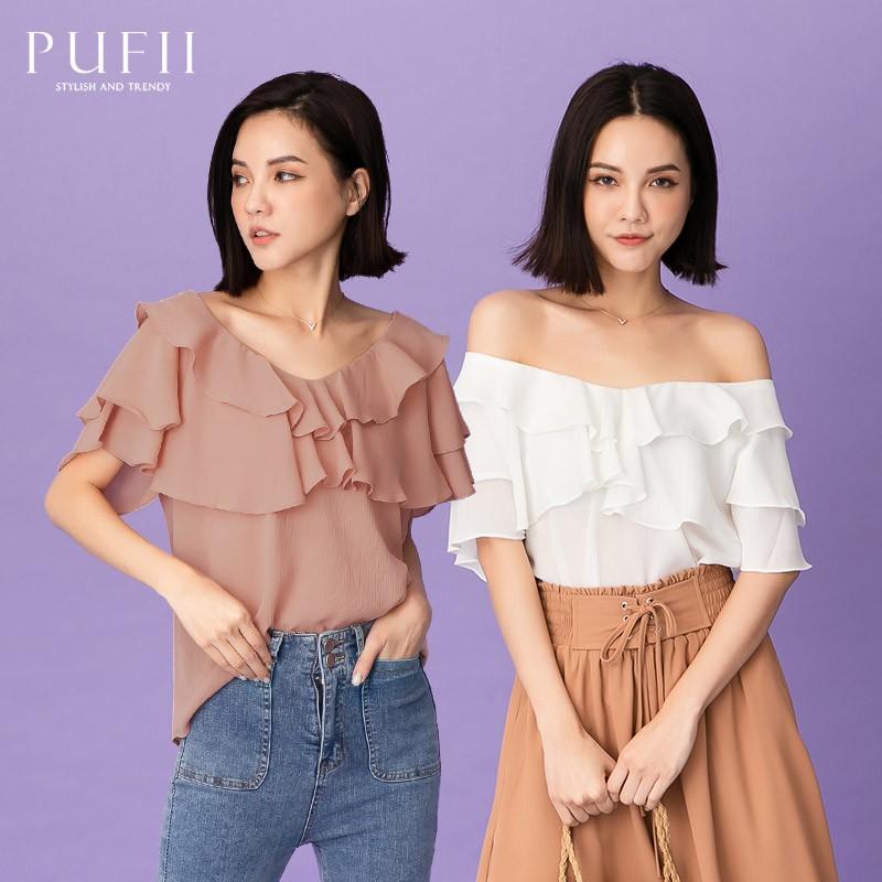 《現貨》PUFII-上衣 荷葉領素面雪紡上衣- 0225 春【CP19829】