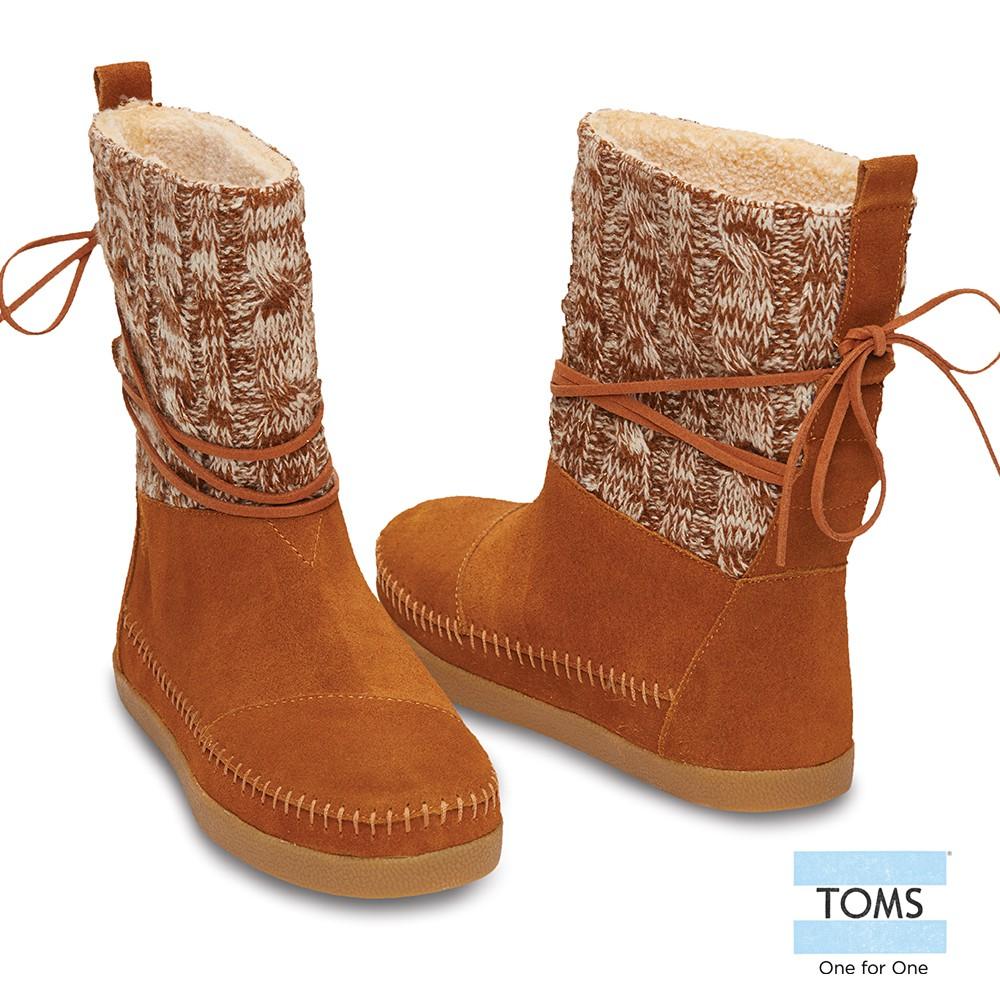 美國原廠 TOMS女鞋 棕色針織拼接雪靴 休閒鞋 零碼特惠