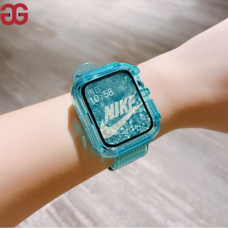 適用 apple watch錶帶 iwatch 蘋果手錶錶帶 一體式 冰川限定 透明矽膠 運動 6/5/4/3/2/1代