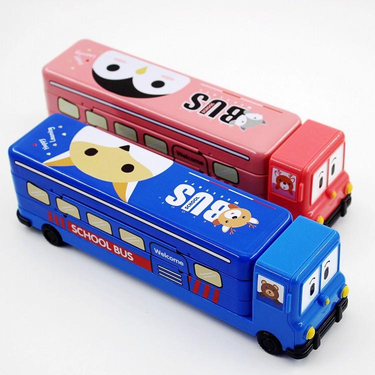 現貨❤️立體大容量卡通鉛筆盒 小學生文具盒 可愛創意校巴 汽車造型兒童雙層鉛筆盒 收納盒 兒童禮物