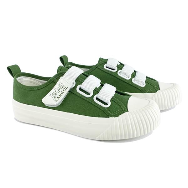 KANGOL【6952200370】英國袋鼠 帆布鞋 餅乾鞋 黏帶 綠白 女生尺寸