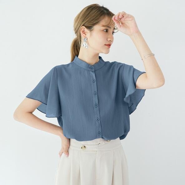 襯衣 上衣 小衫 糖果色M-XL 新款 寬鬆百搭立領純色荷葉邊短袖襯衫女士雪紡上衣GB108C-7771.胖胖美依