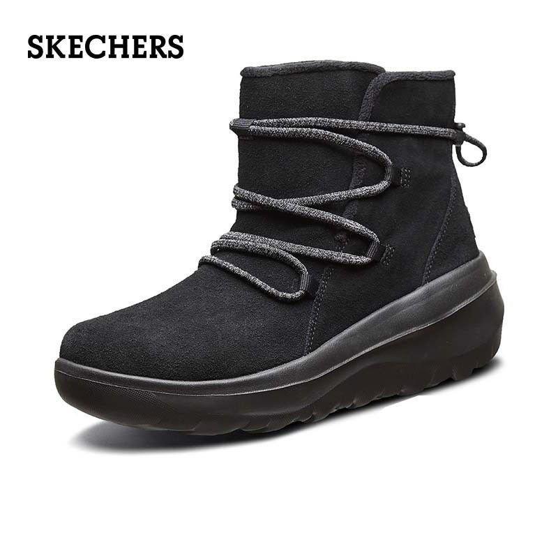 Skechers斯凱奇女鞋新款女子保暖反毛皮雪地靴一腳蹬輕便休閒靴 dYTL