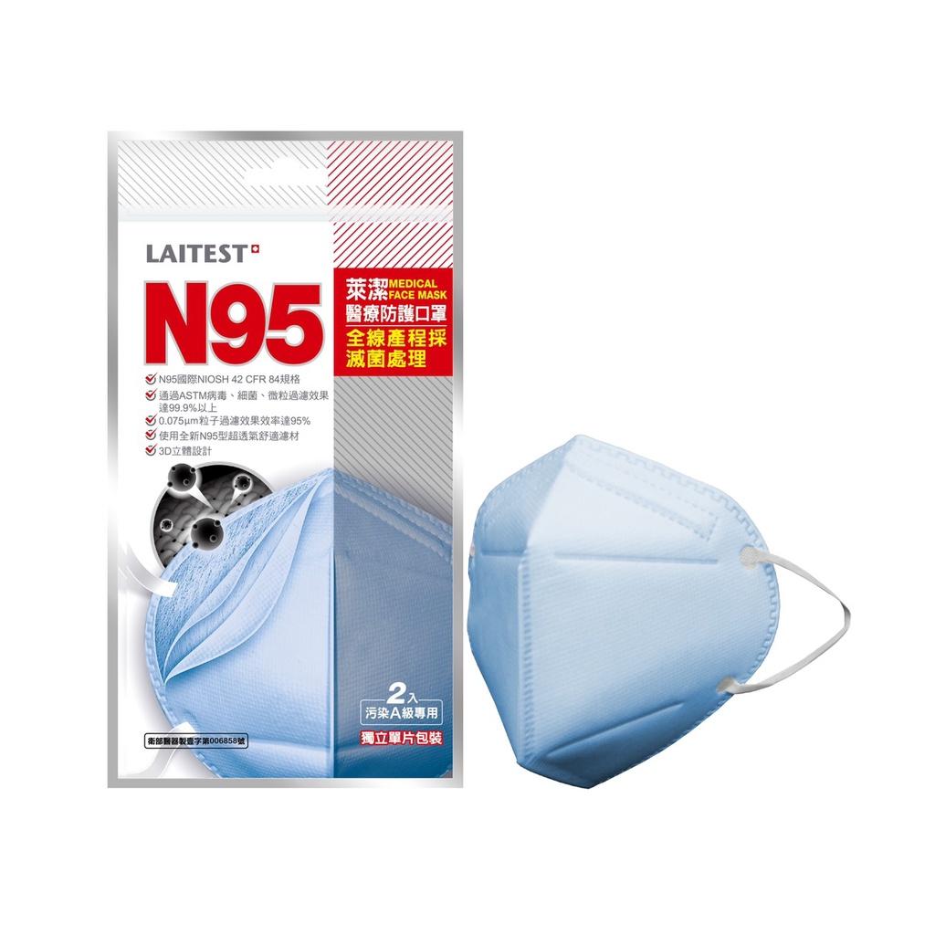 萊潔 N95醫療防護口罩-海洋藍(2片入/袋)(衛生用品,恕不退貨,無法接受者勿下單)