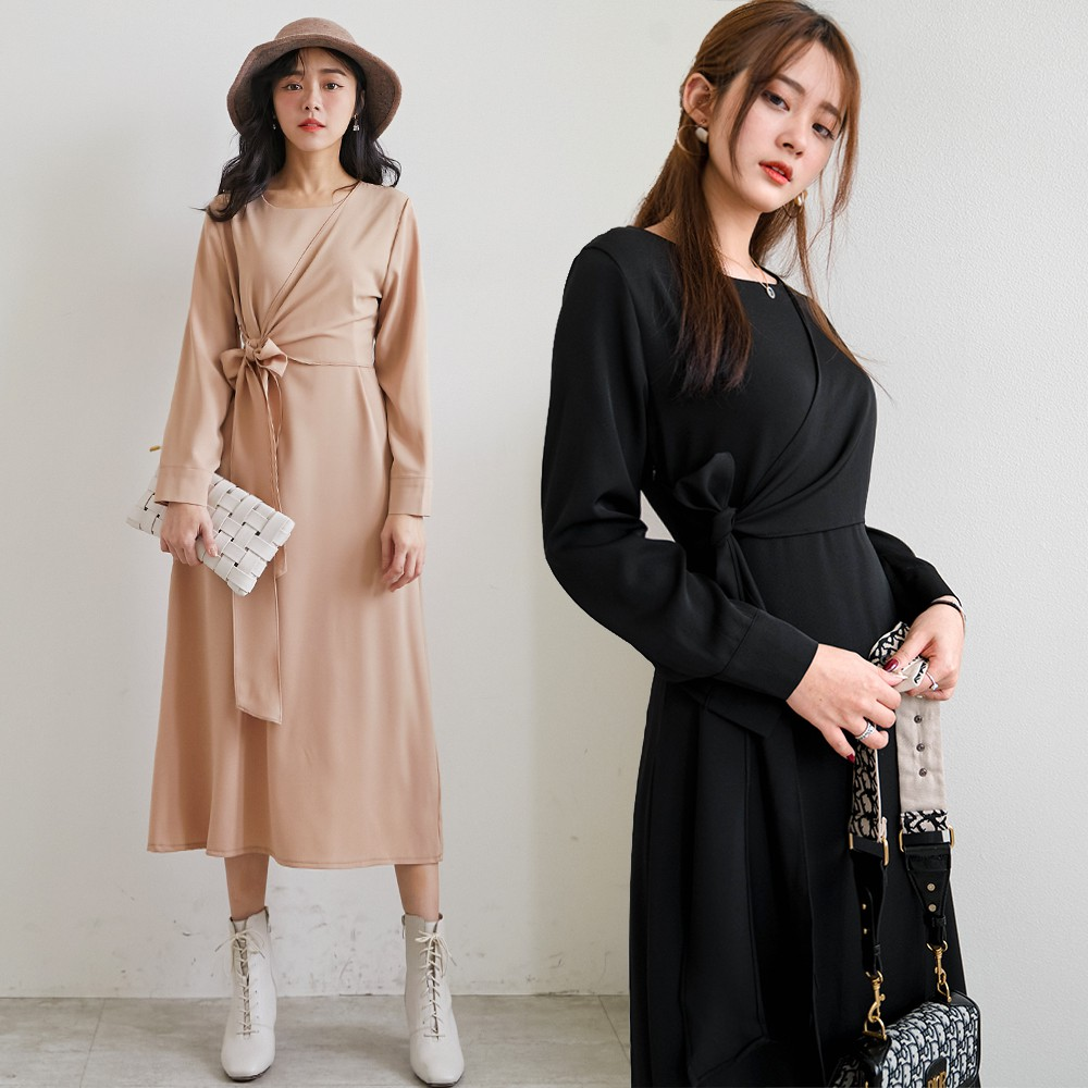 MIUSTAR 圓領交叉綁帶素面雪紡洋裝(共2色)連身裙 長袖洋裝 長洋裝 1110 預購【NH2920】