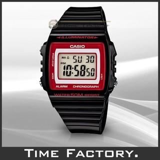 【時間工廠】全新 CASIO 果凍方塊 黑x紅 多功能電子錶 W-215H-1A2 台北市