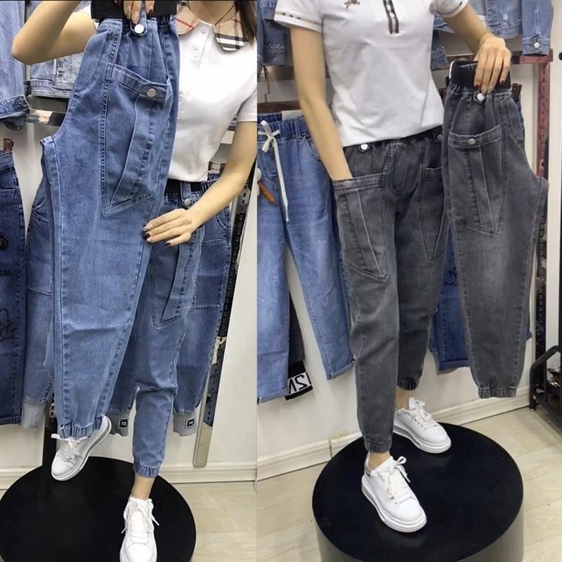 YH11春秋新款 牛仔老爹褲女 鬆緊高腰 寬鬆顯瘦 工裝褲 束腳九分哈倫褲