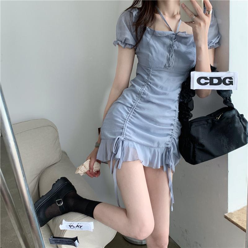 42270雪紡抽繩綁帶連衣裙小洋裝