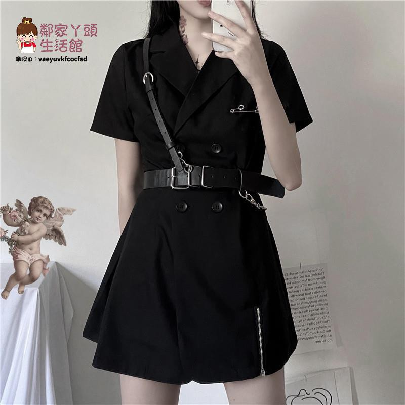 連衣裙女2021新款夏季韓版ins復古氣質西裝短袖顯瘦暗黑系裙子潮【2021新款洋裝】