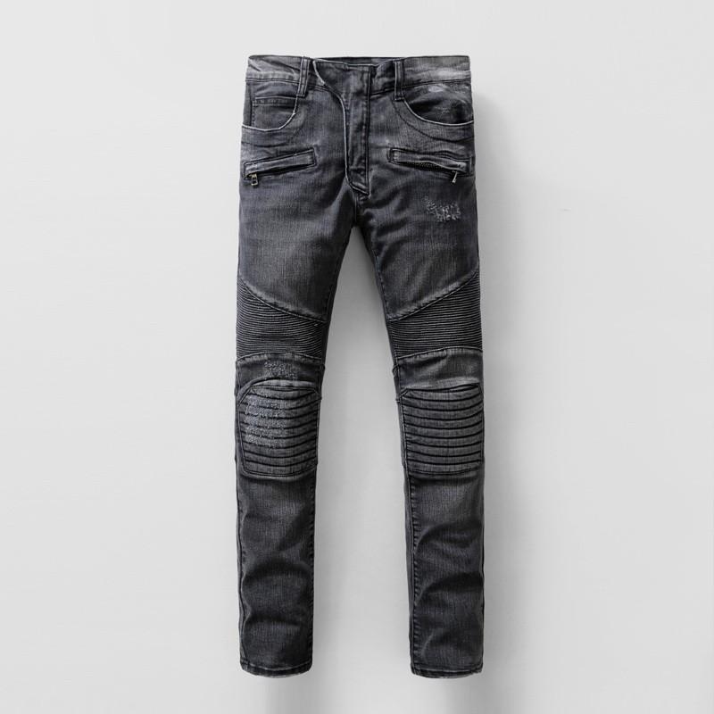 【最新款】BALMAIN男士牛仔褲 巴爾曼牛仔褲 JEANS水洗後袋特色LOGO袖章 修身修身 破洞牛仔褲