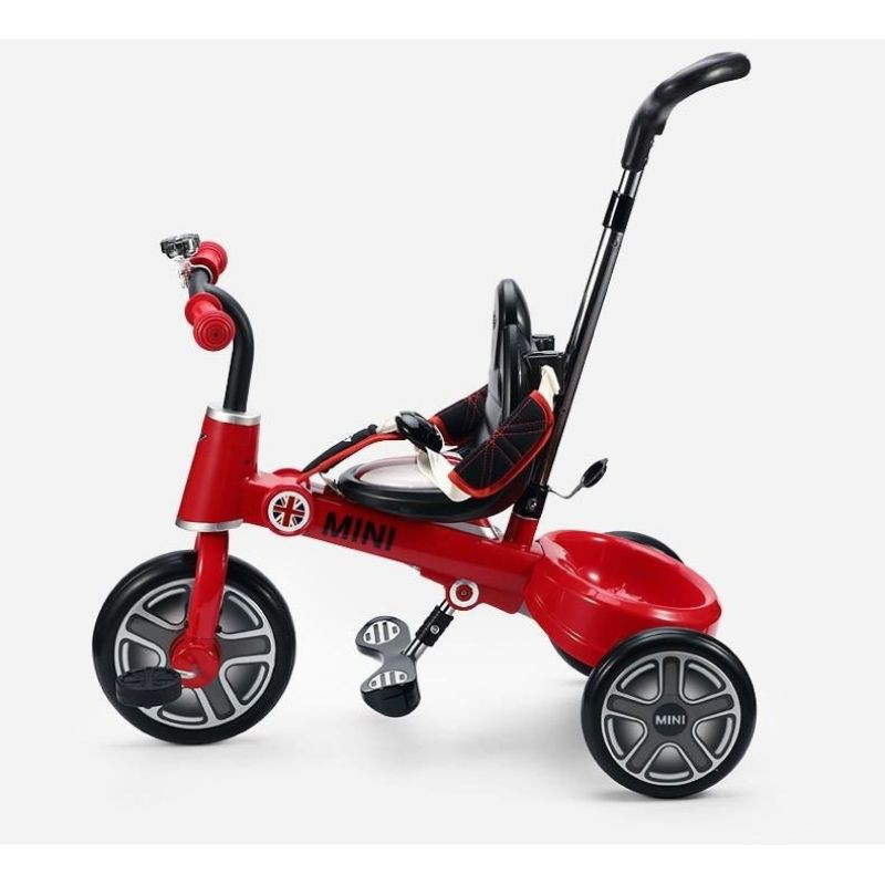 正品BMW官方授權 MINI Cooper 兒童摺疊腳踏車 三輪車 手推車腳踏車 一鍵折疊軟皮座椅