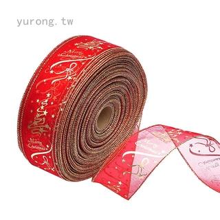 Yurong 聖誕樹裝飾品 6.3*200cm 紅金色韓版印花聖誕樹裝飾絲帶