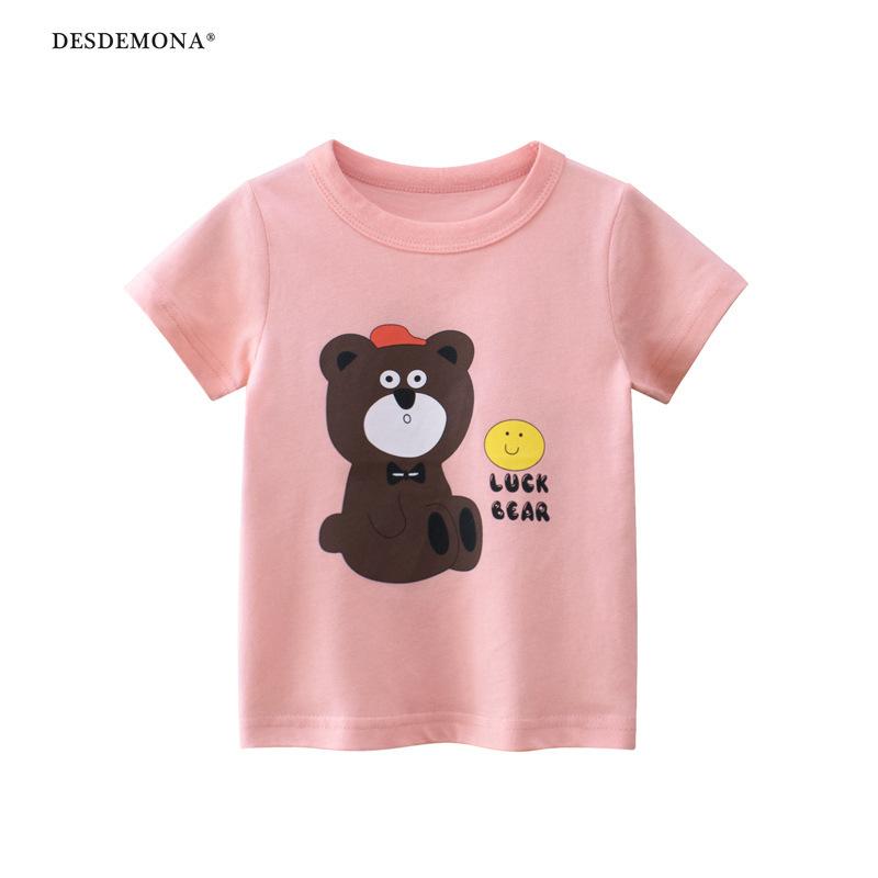 韓版童裝2021夏季新款大廠出品 兒童短袖T恤衫女童服裝純棉短袖上衣 卡通T恤