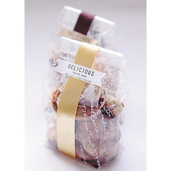 [現貨]48入 附金色托紙 白色英文餅乾袋 點心袋 麵包袋 opp袋 平口袋透明袋 塑膠包裝袋 飾品 吐司袋【D060】