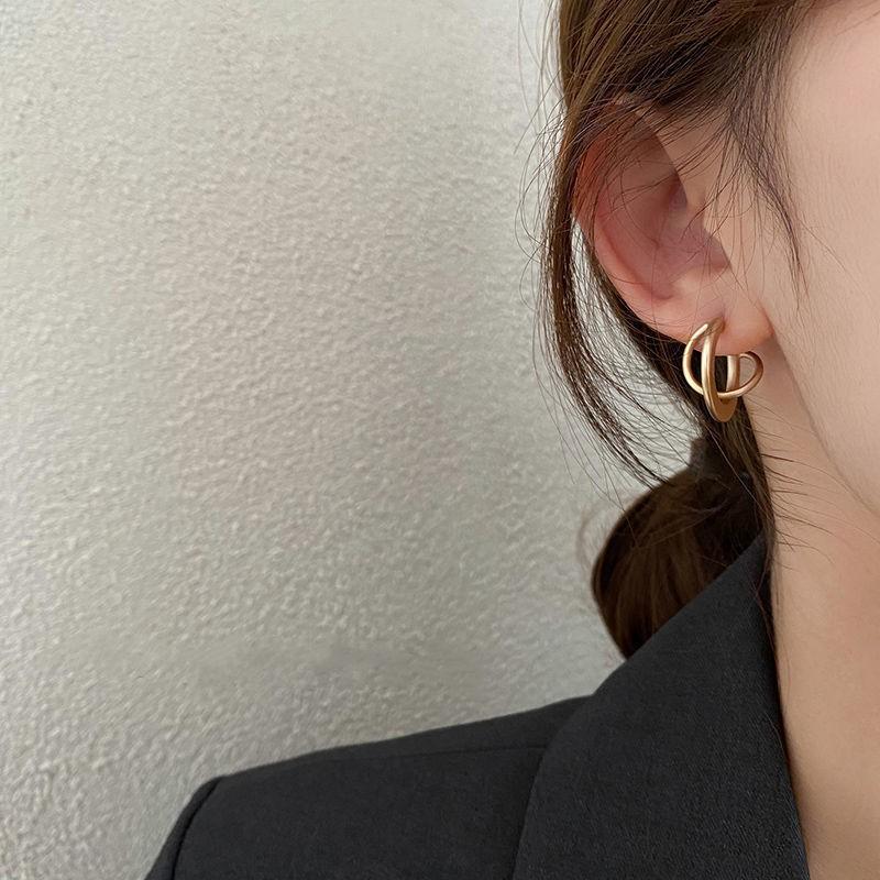 【免運】【高級感耳環】疊加圓環耳釘女韓國ins冷淡風氣質耳環復古法式高級感簡約耳飾品