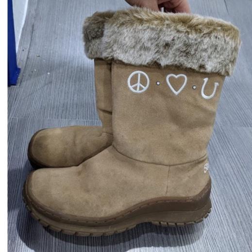 【二手】skechers內雪毛麂皮雪靴