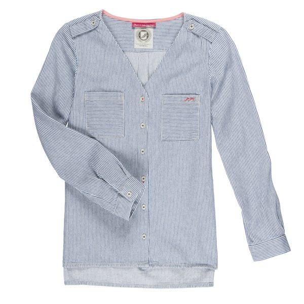 J&Joy 女藍條紋修身長袖襯衫 J171-W07-02-28