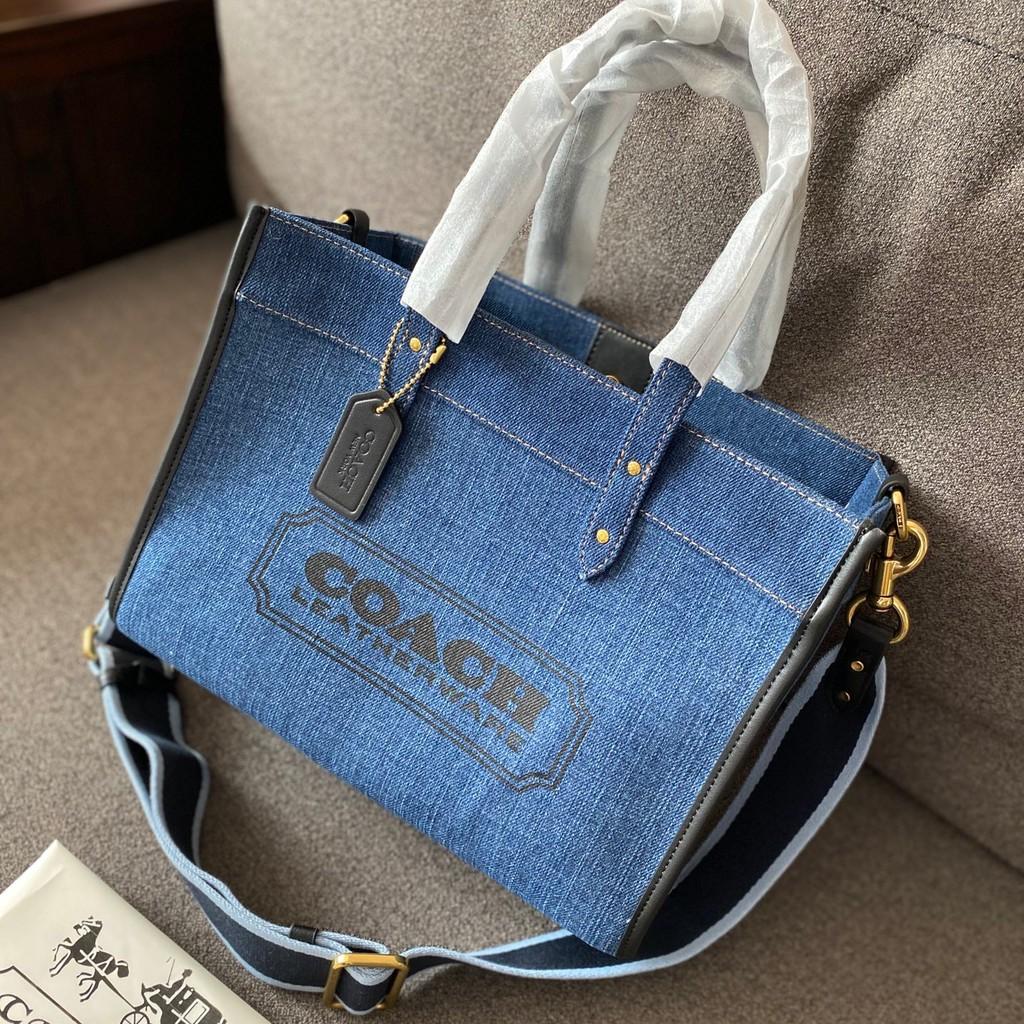 COACH蒄馳 帆布馬拉車子母袋 牛仔購物袋 單肩斜挎包 帆布托特包 手提包 超級大容量女包