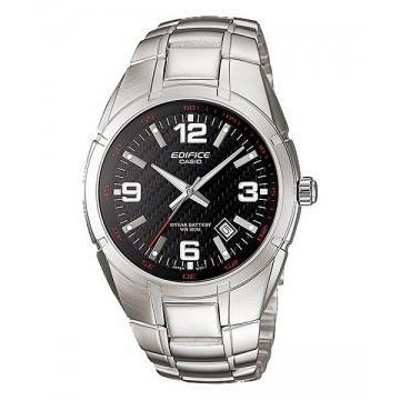 【八度空間】CASIO EF-125D-1 10年電力、表面編織紋路、日期顯示、不鏽鋼錶帶