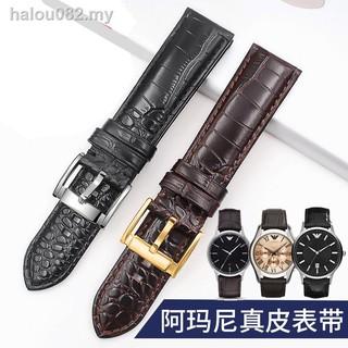 錶帶和表扣 ¤適用於 Armani 錶帶皮革男第一層牛皮 Ar2432 2436 2447 20 22mm