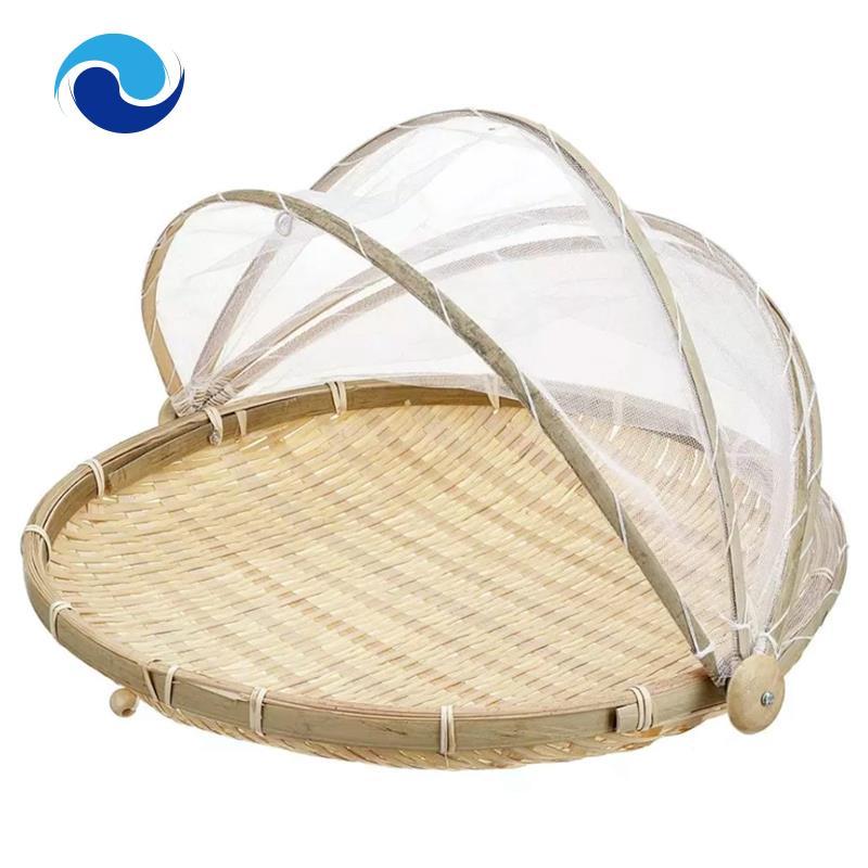 防蟲防塵籃,水果盤托盤乾燥簸pan手工竹製食品儲物籃A