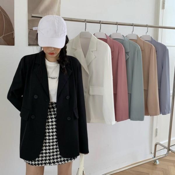 韓版休閒寬松英倫風氣質小西裝外套女薄款西服上衣