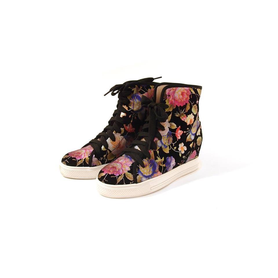 【Robinlo】華人最水的品牌印花高筒休閒鞋-黑 女原價6200元