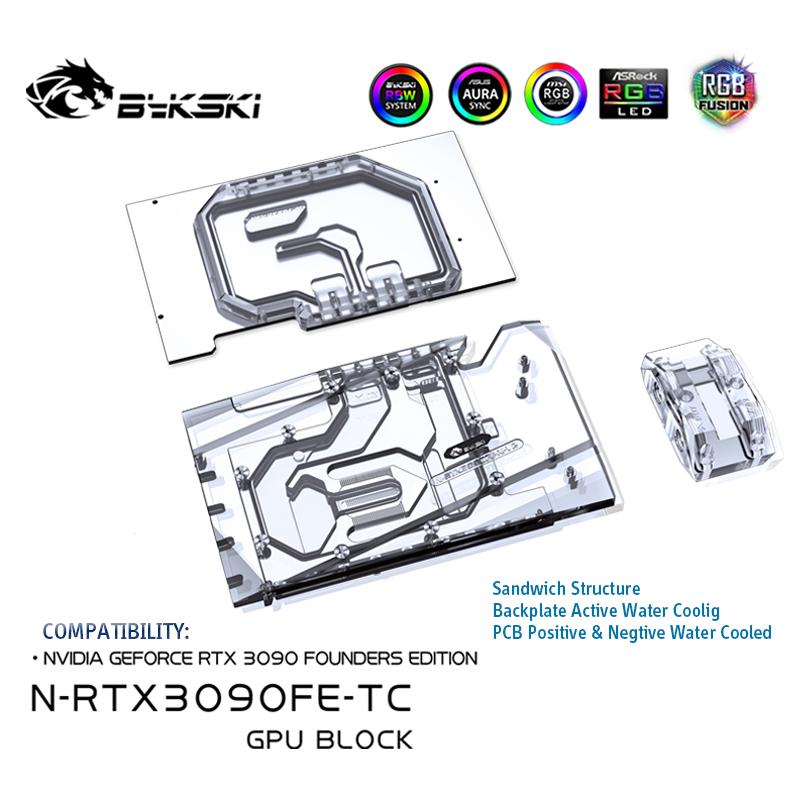 Bykski N-Rtx3090Fe-Tc, Nvidia Rtx 3090 創始人版的前後主動冷卻 Gpu 水塊 -