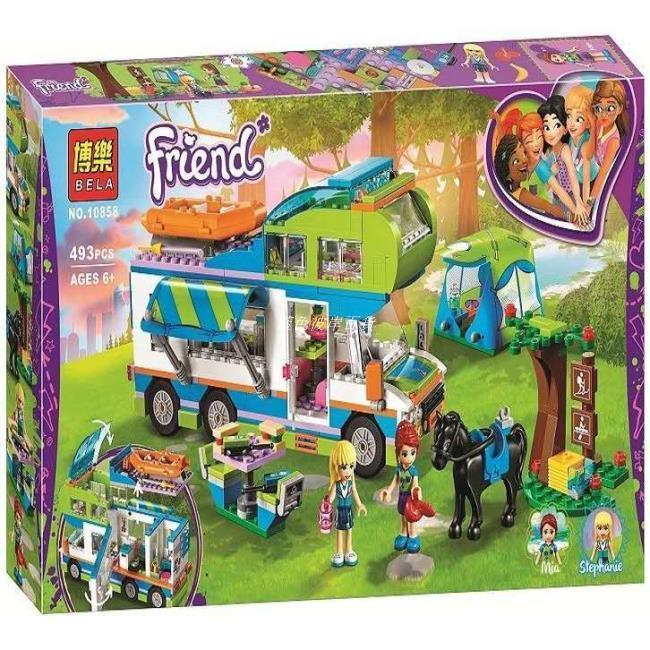【藍色彼岸百貨】女孩系列樂翼博樂10858心湖城好朋友米婭的野營車 模型相容樂高41339非lego兒童益智積木玩具 5