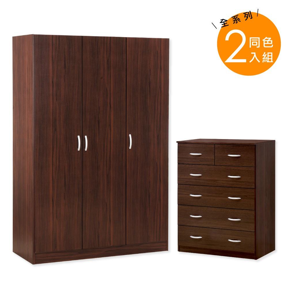 HOPMA簡約美學收納衣斗櫃組/衣櫥/衣櫃/六抽/三門A-3D1+B-C808