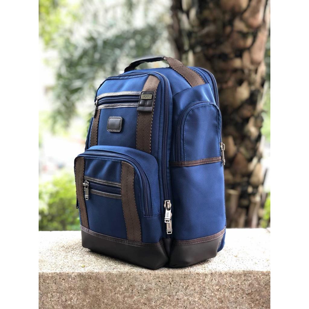 TUMI.後背包 15寸男士商務休閑實用電腦包 彈道尼龍材質配真皮耐用雙肩背包 黑色/藍色