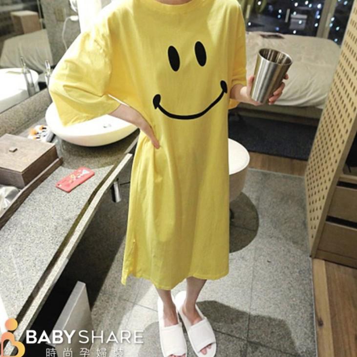 [滿額免運] 微笑哺乳裙 短袖 月子裙 哺乳衣 孕婦裝 BabyShare時尚孕婦裝 (121508735)