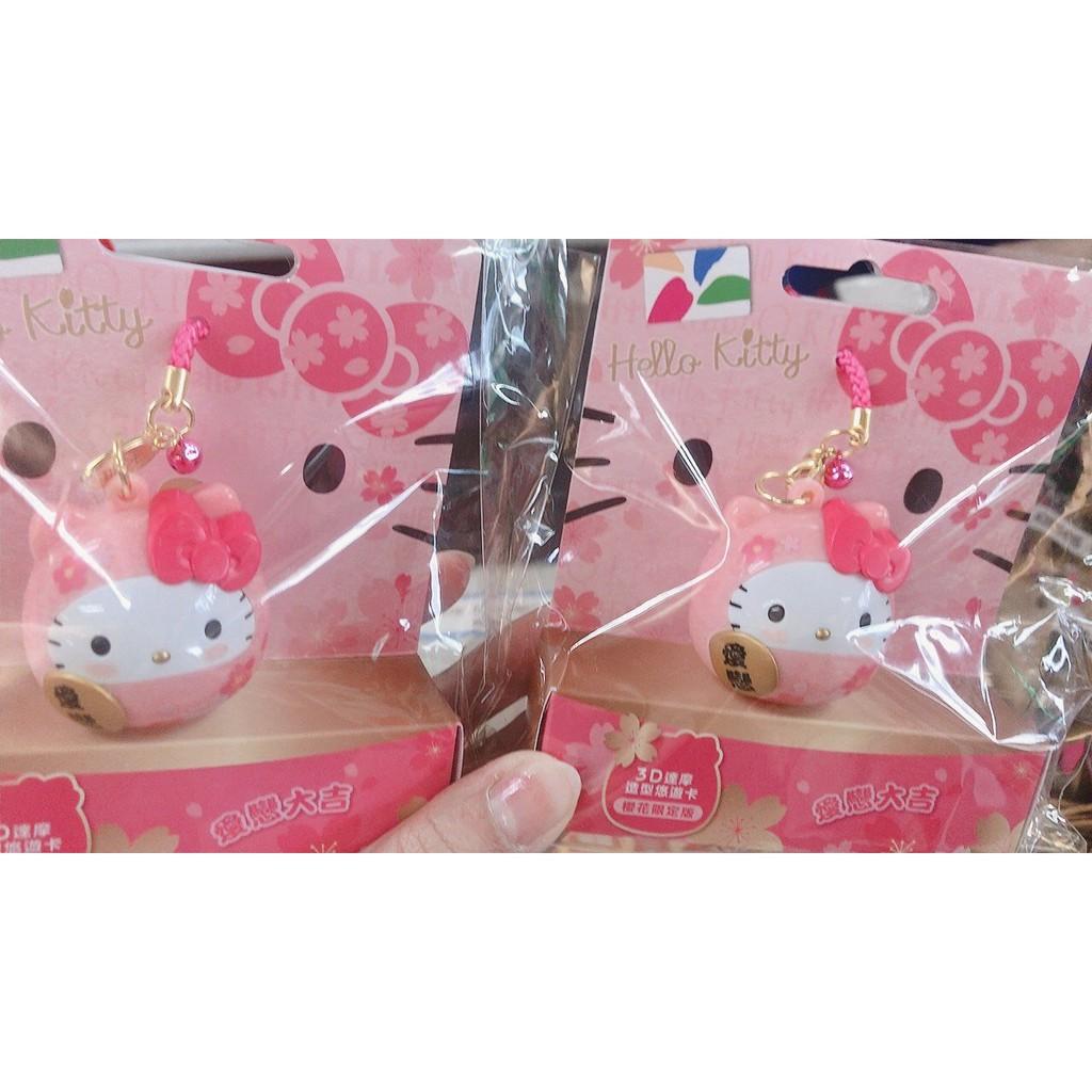 小玫瑰日本精品Hello Kitty 摩達悠悠卡 達摩3D造型悠遊卡 櫻花限定版