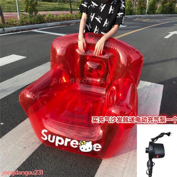 抖音Supreme 18FW inflatable chair tnr水上充氣沙發 折疊充氣椅