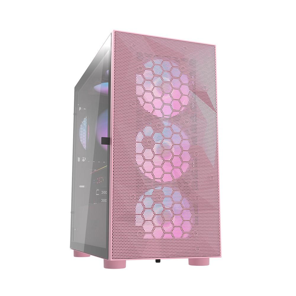 darkFlash DLM21 Mesh M-ATX 電腦機殼-粉色(含4顆12公分ARGB風扇)