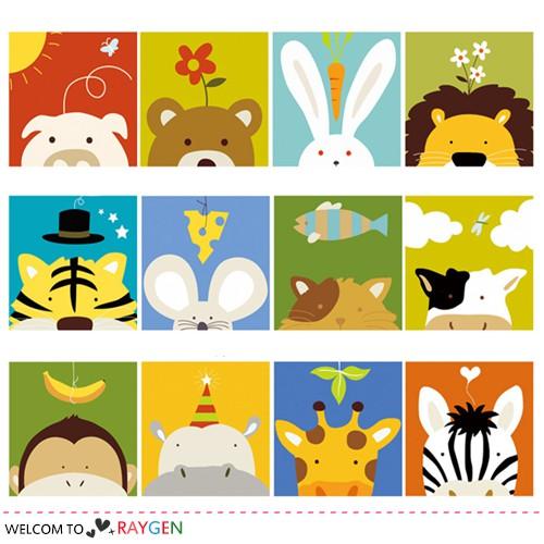 12款DIY卡通動物數字油畫 20x20