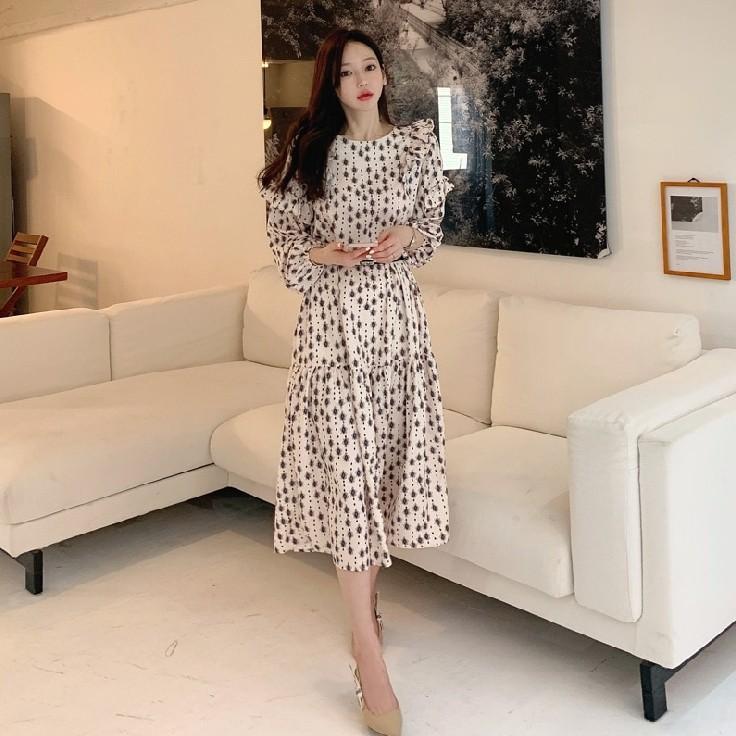 【白鳥麗子】連身裙 復古滿版圖騰荷葉邊傘擺長版雪紡洋裝