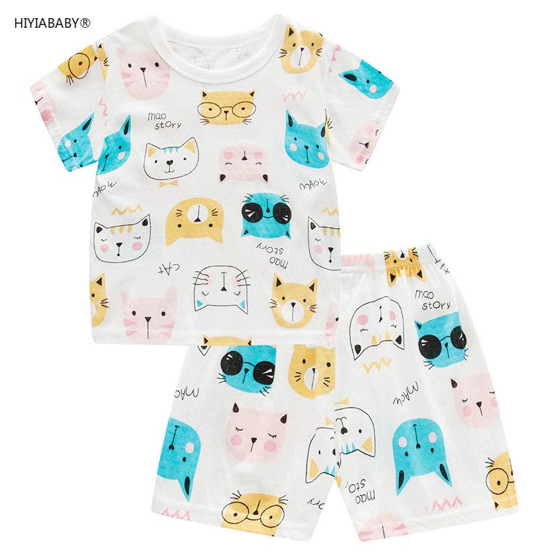 兒童夏季薄款純棉短袖套裝女童網眼鏤空家居服寶寶寬松兩件套頭衫