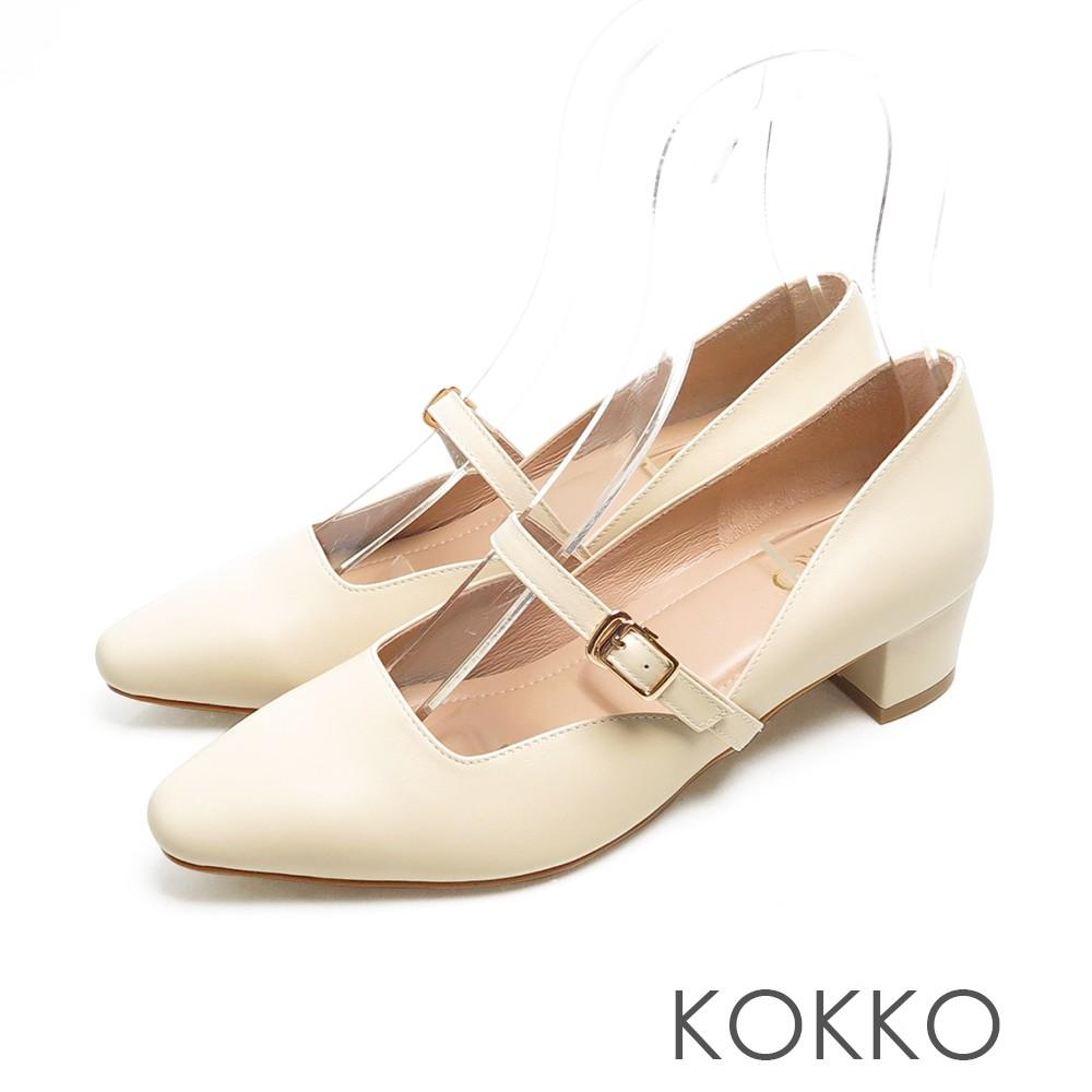 KOKKO優雅瑪莉珍柔軟羊皮繫帶粗跟鞋質感米