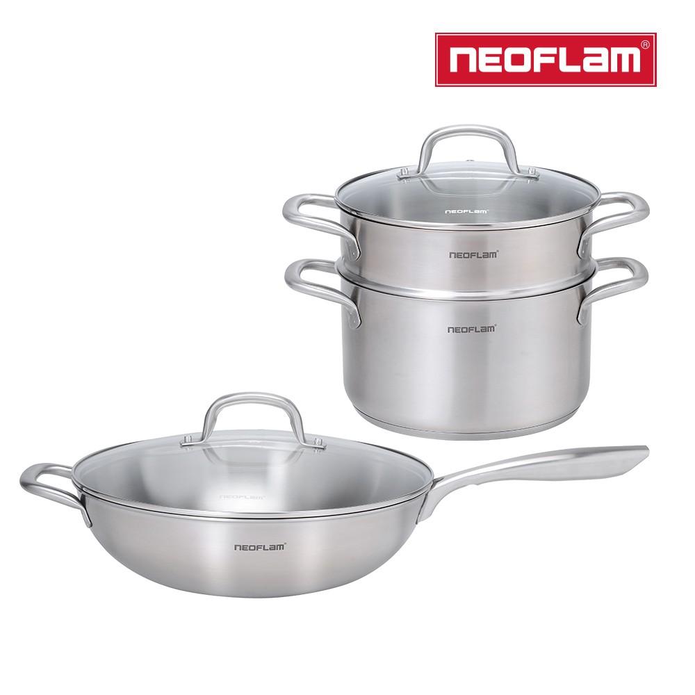 NEOFLAM 不銹鋼316 炒鍋 湯鍋+蒸籠組 任選