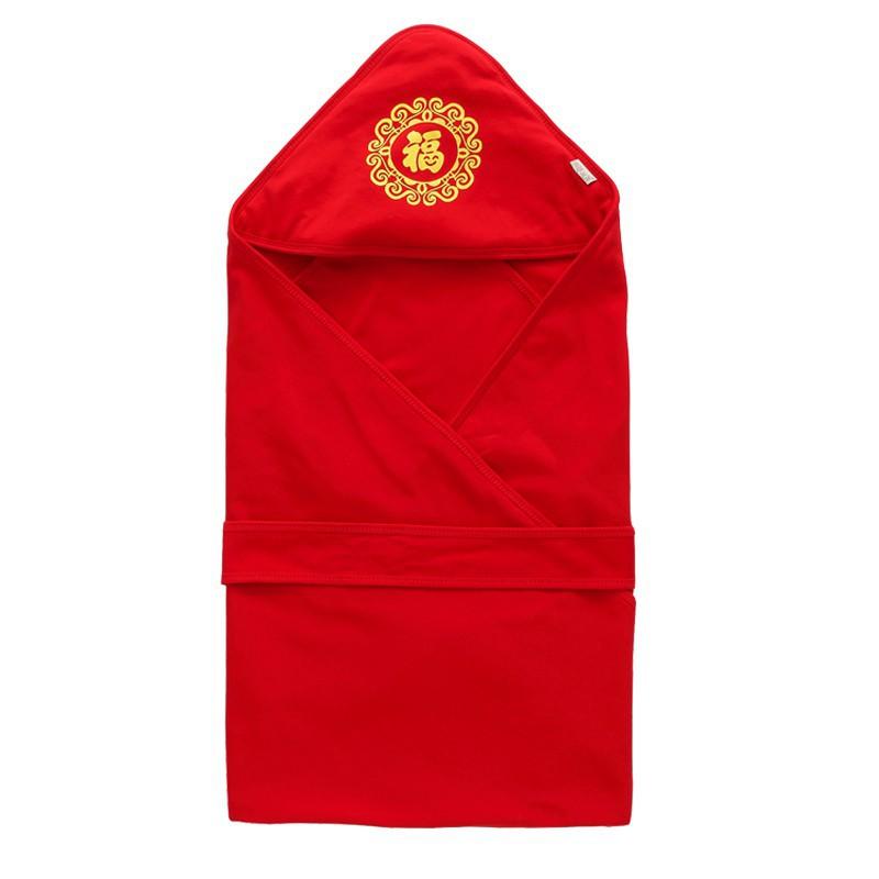 (重) 全場下殺 新生兒紅色包被夏季單層薄款純棉包巾抱被初生嬰兒襁褓巾抱毯被套