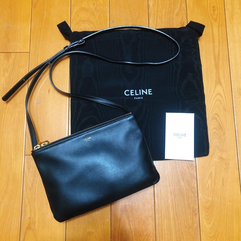 (8.5成新)CELINE TRIO 正品 小款 經典黑色