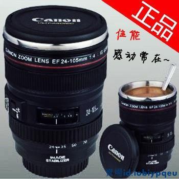 【樂聚百貨41】創意水杯辦公室保溫杯 Canon創意咖啡杯茶水杯子 佳能二代相機鏡頭不銹鋼內膽保溫杯