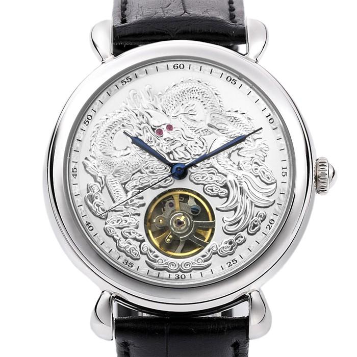Manlike 曼莉萊克機械錶不銹鋼真皮錶帶機械表龍行天下經典紅寶手錶銀
