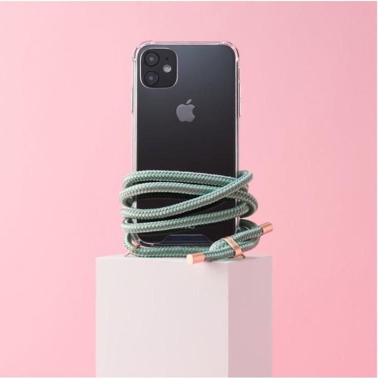 Arno 編繩背帶透明iPhone手機殼_薄荷灰綠