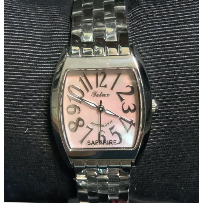 【神梭鐘錶】TELUX WATCH 瑞士自動上鍊eta2671機蕊酒桶型高級珍珠貝立體阿拉伯數字面五珠女妝機械銀腕錶