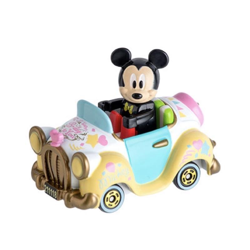 預購-東京迪士尼樂園米奇米妮生日系列跑車造型附人偶TOMICA
