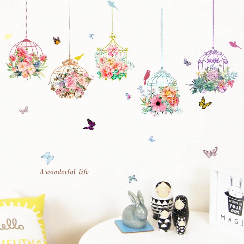 糖果設計 可超取田園鳥籠牆貼紙客廳臥室背景牆壁裝飾壁貼花卉書房走廊